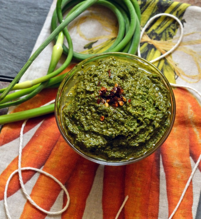 Garlic Scape Basil Pesto