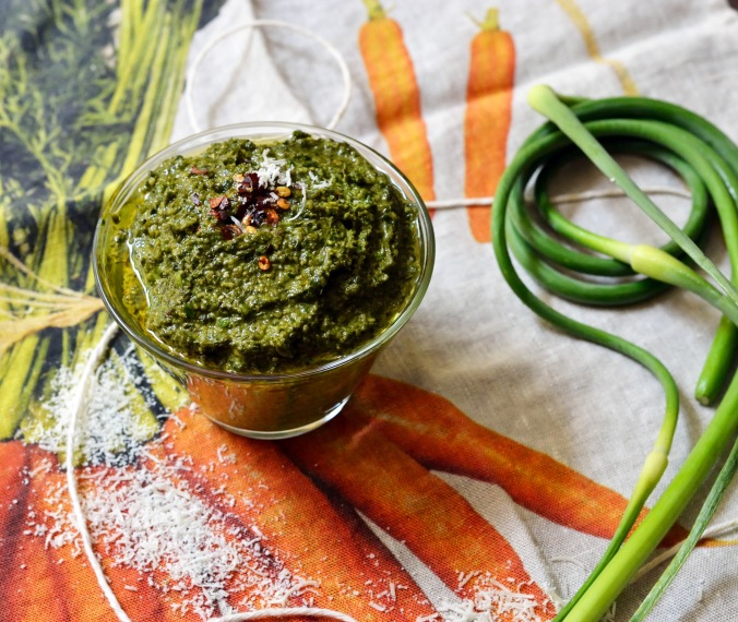 Garlic Scape Basil Pesto | Pumpkin Honey
