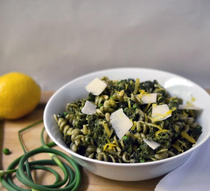 Lemon Pesto Pasta with Peas, Spinach and Asiago | Pumpkin Honey