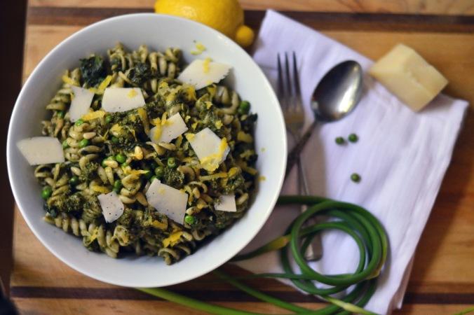Lemon Pesto Pasta with Peas, Spinach and Asiago
